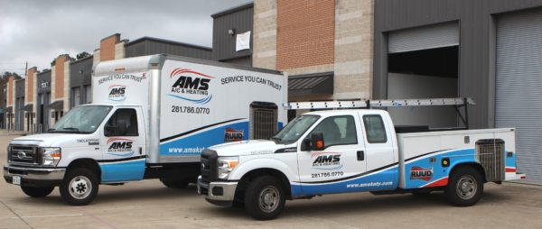 AMS AC and Heating Service Trucks for AC Services in Katy and West Houston