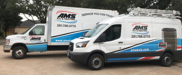 AMS AC and Heating Truck and Van for AC Services in Katy